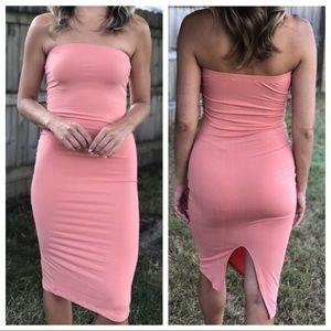 Dresses & Skirts - Peach bodycon high slit midi tube dress